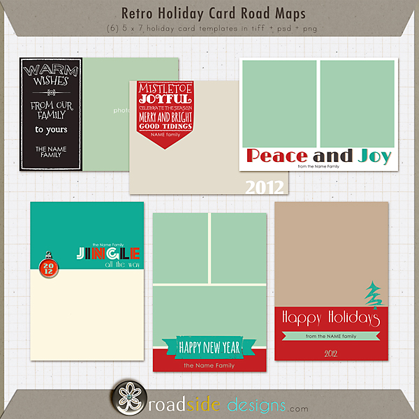Retro Holiday Card Road Maps